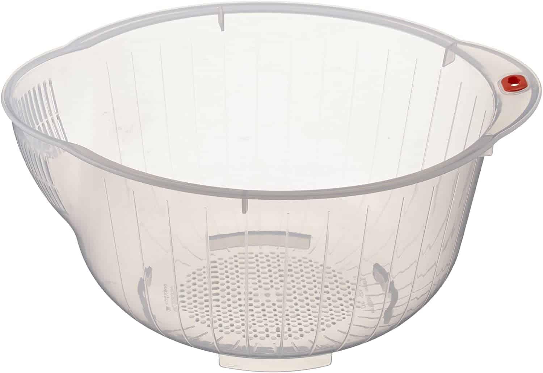 Inomata Japanese Rice Washing Bowl with Side and Bottom Drainers